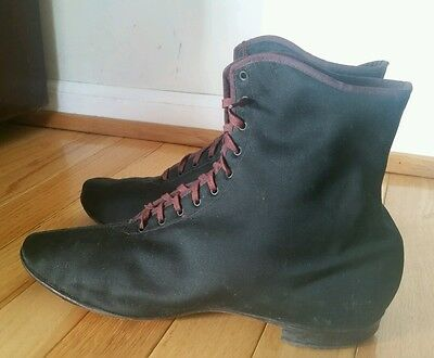 Antique Victorian Silk Boots Black Lace Up UTZ & DUNN NY
