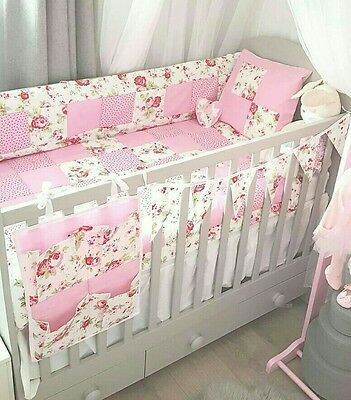 Handmade Cath Kidston Fabric 6pc Cot Quilt Bumper Set Patchwork Baby Bedding