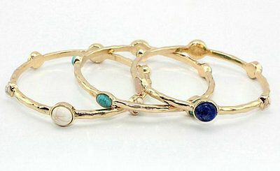 Gold Plated Natural Quartz Turquoise Bangle Bracelet SZ0533