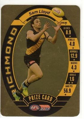 2017 Afl Teamcoach Team Coach Prize Card Richmond Tigers Sam Lloyd Mint