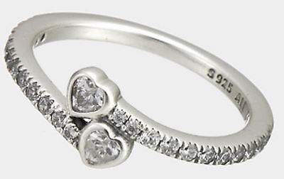 New Genuine Silver PANDORA Forever Hearts Simple Love Hearts Ring 191023CZ