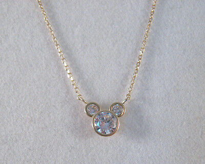 14K 585 Gold Disney Mickey Mouse Clear Faceted CZ Pendant Chain Necklace~15 Inch