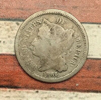 1865 3C Three Cent Nickel Piece Vintage US Copper Coin #OT36