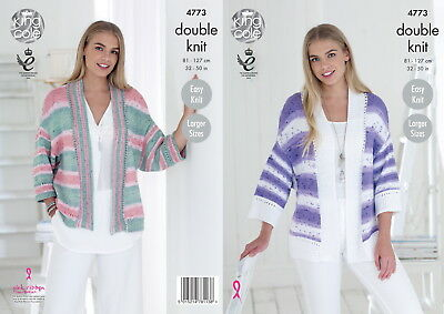 King Cole 4773 Knitting Pattern Womens Cardigans Cottonsoft Crush dk
