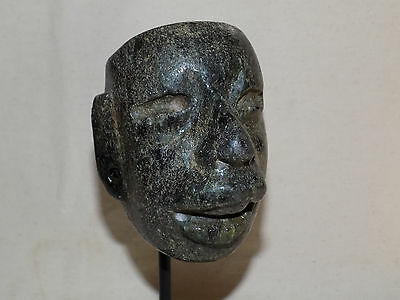 Authentic Pre-Columbian Jade Olmec Carved Head Mask, Teotihuacan Mask