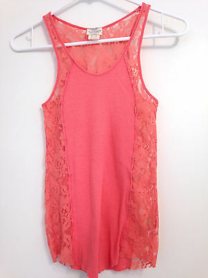 Intimately Free People Cami Tank Coral Pink Floral Lace & Cotton Sz S Camisole