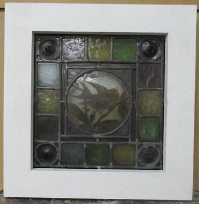 """VICTORIAN ENGLISH LEADED STAINED GLASS WINDOW Handpainted Bird 12.75"""" x 13"""""""