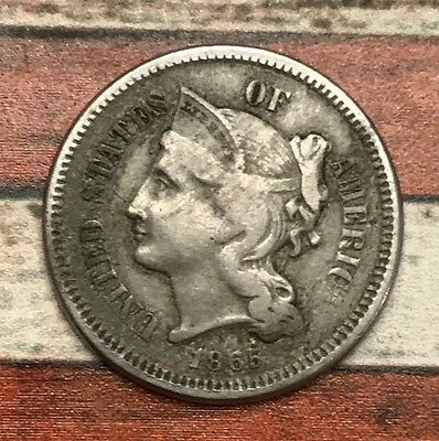 1865 3C Three Cent Nickel Piece Vintage US Copper Coin #OT43