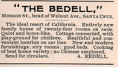 1899 Ad The Bedell Hotel No Chinese Mission St Santa Cruz