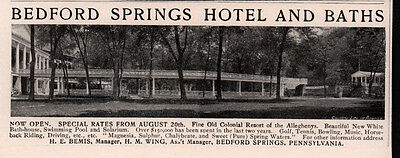 Early Ad Bedford Springs Hotel And Baths Photo Chalybeate  Sulphur Magnesia