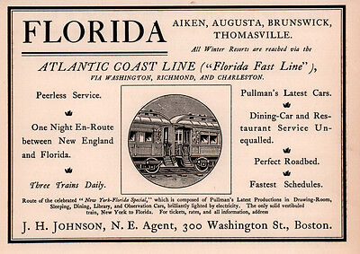 1898 Ad Atlantic Coast Line Florida Fast Railroad Aiken Augusta Thomasville