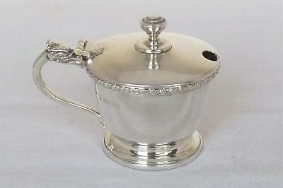 A Stunning Solid Sterling Silver Mustard Pot With Blue Glass Liner Dates 1947.