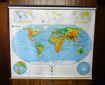 """Vintage Nystrom 2 Page Political Usa World Pull Down School Map 65"""" X 70"""" Map19"""