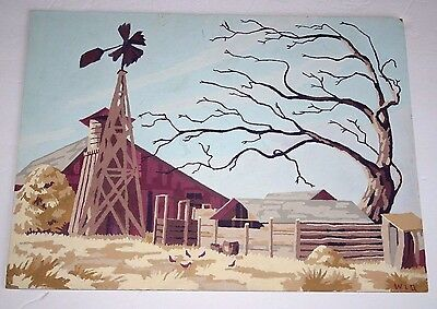 "Craftint VTG Paint by numbers from 1956 ""Broken Windmill"" barn, chickens, Fall"