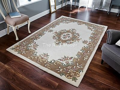 Tusaro Aubusson Cream Red Wool Rug in various sizes half moon and circle