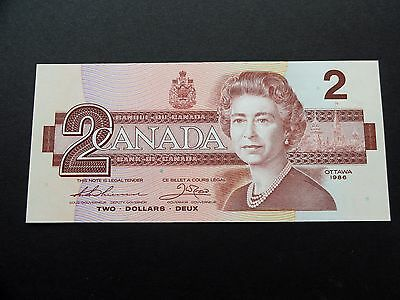 CRISP Uncirculated 1986 CANADA $2.00 Two Dollars BILL - EXCELLENT EGF3906356