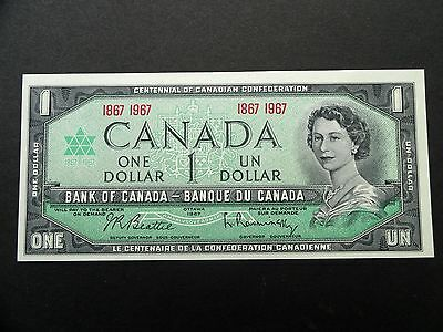 CRISP Uncirculated 1867 - 1967 CENTENNIAL Canada $1.00 DOLLAR BILL - Excellent