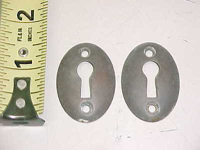 Pair Of Vintage Old Antique Brass Oval Shape Escutcheons Keyhole Key Hole Covers