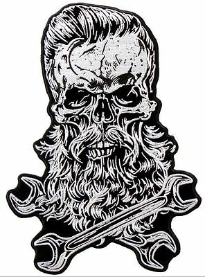 Bearded Skull Tools Wrench Sasquatch Motorcycle Uniform Patch Biker