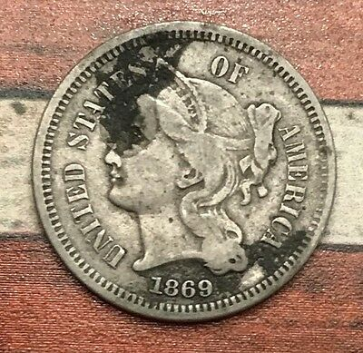 1869 3C Three Cent Nickel Piece Vintage US Copper Coin #OT57 Nice Appeal