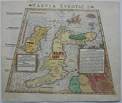 British Isles 1542 Rare Original Antique England Ireland Woodcut Map Munster