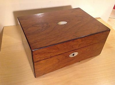 Beautiful Antique Pale Rosewood & Mop Sewing Box