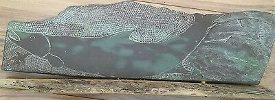 "Salmon Carved Slate Art Not Signed 14"" long x 4"" wide 2.5 lbs"