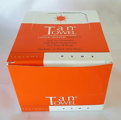 Tan Towel Half Body Towelettes in Display Box | PLUS | PACK OF 50