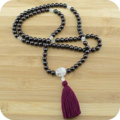Red Garnet Mala Beads Necklace with Ice Quartz Crystal