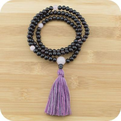 Rosewood Mala Beads Necklace with Rose Quartz