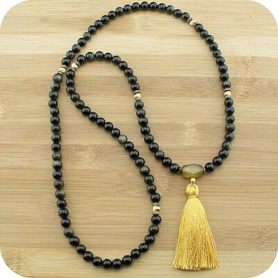 Gold Obsidian Mala Bead Necklace with Dzi Agate