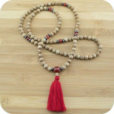Lotus Seed Mala Beads Necklace with Carnelian