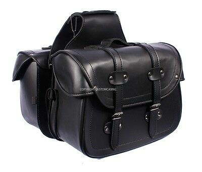 LEGEND Black Motorcycle Motorbike Panniers Biker Cruiser Leather Saddle bag