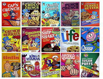 15 Vintage Quaker Cereal Box Photo-Fridge Magnets