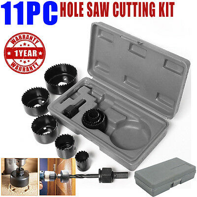 Hole Saw 11Pc Cutting Set Kit 19-64Mm Wood Carbon Steel Cutter Circular Round