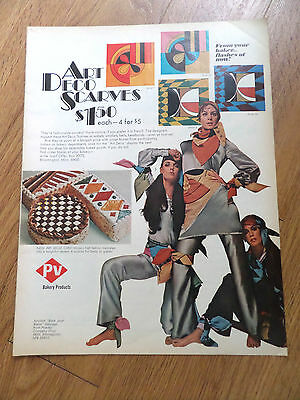 1969 PV Bakery Products Ad  Art Deco Scarves $1.50 each 4 for $5