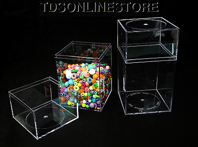 Clear Acrylic Storage/Display Canisters 4x4x7.25 Inch Package Of 2