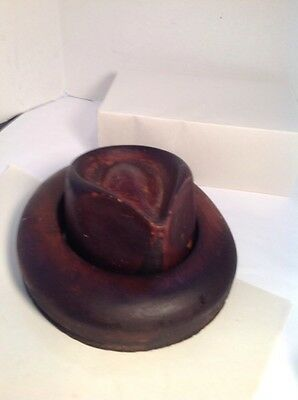 Antique Wood Hat Crown & Brim Block Mold Form Fedora -