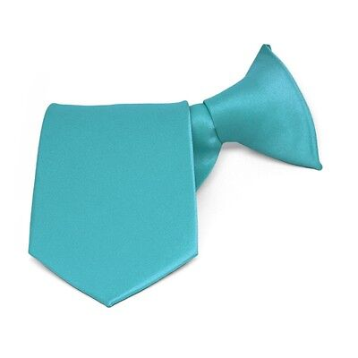 Boys' Turquoise Blue Solid Color Clip-On Tie: 8, 11, or 14 Inch Length