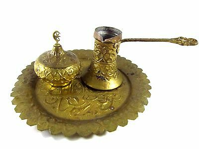 Antique Turkish Brass Cezve & Lidded Sugar With Serving Plate Hand Chased Relief