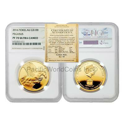 Tokelau 2016 Pegasus $100 1 oz Gold NGC PF70 ULTRA CAMEO with COA