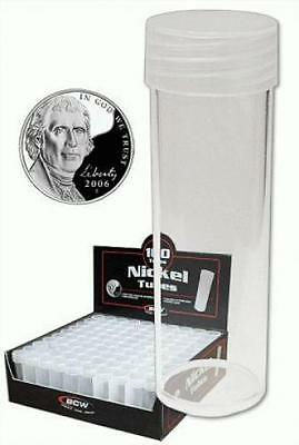 COIN STORAGE TUBES, round clear plastic w/ screw on tops for NICKELS (Quantit...