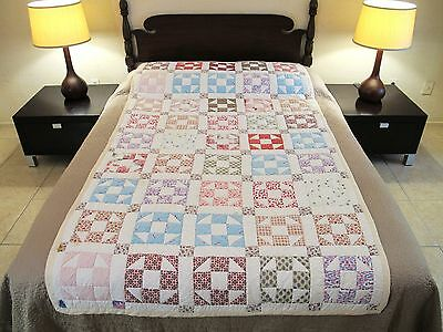 "TWIN (or Throw) Vintage Hand Sewn All Cotton SHOO FLY QUILT, 81"" x 45"""