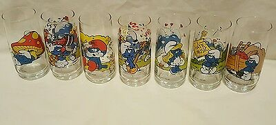 Vintage 1982/83 Peyo Smurf Collectable Glass Hardees Papa~Lazy~Smurfette MINT