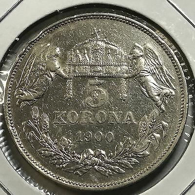 Hungary 1900 Five Korona Angels  Silver Crown