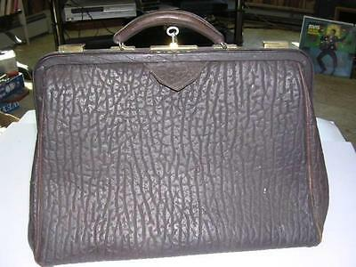 """Vintage Neat Doctor's Bag-Satchell Made from Walrus w/ Key 10 3/8 x 17 1/8 x 7"""""""