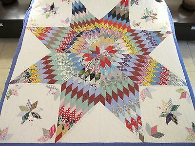 FOR RESTORATION: Vintage Hand Sewn Rustic Patchwork & Applique LONE STAR QUILT