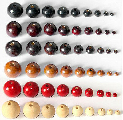 4-20mm Round Wood Spacer Loose Beads Charms DIY Bracelet Accessories Wholesale