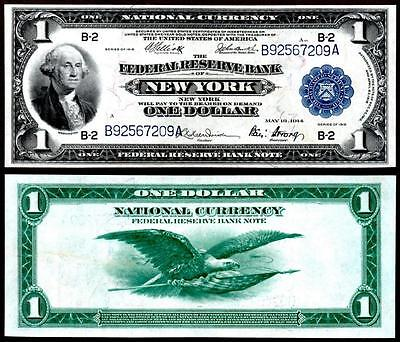1918 $1~Large Size~National Currency Note -New York~Crisp Almost Uncirculated~