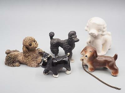 Vintage Lot of 5 Porcelain Miniature Dogs and Poodles
